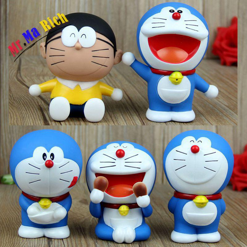 10cm 5pcs/set Doraemon Anime Action Figure Collection Toys For Christmas Gift Free Shipping
