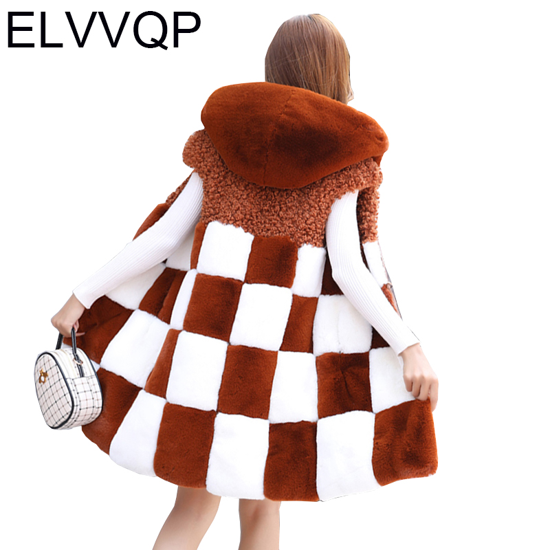 2018 New winter Fashion Women Hooded Faux Fur Vest Long Faux Fur Coat High Quality Casual