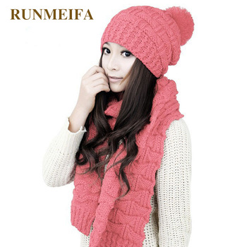 2018 design autumn and winter new warm scarf hat set for ladies Acrylic yarn classic fashion Solid scarf hat gift in stock 1