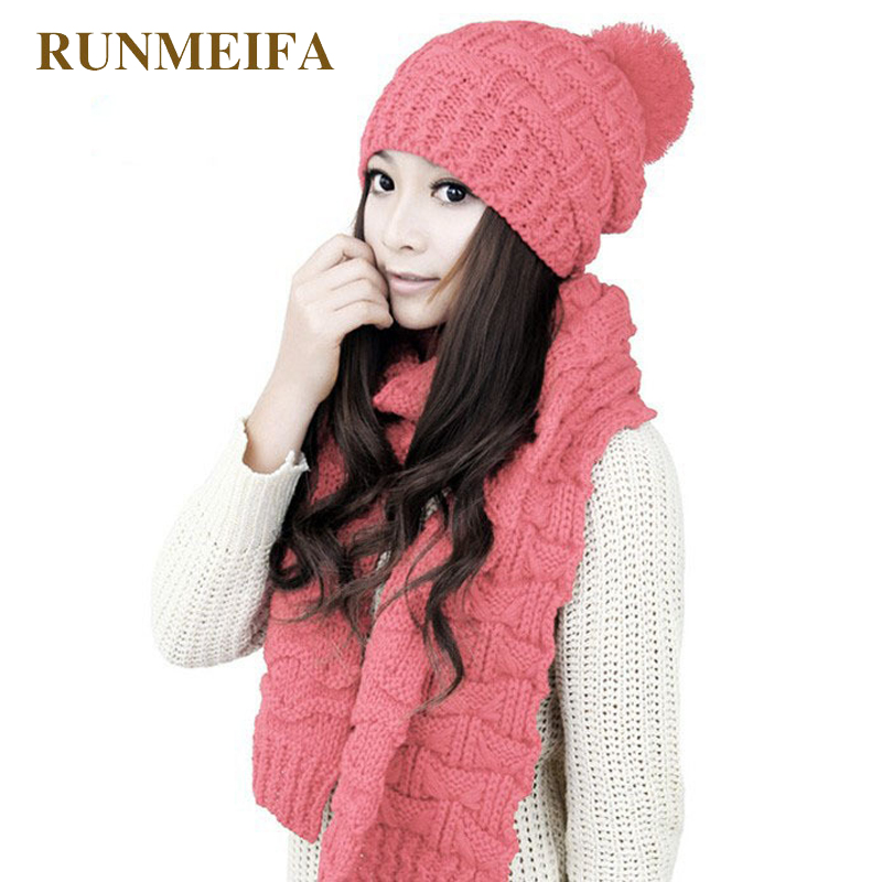 2018 Design Autumn And Winter New Warm Scarf Hat Set For Ladies Acrylic Yarn Classic Fashion Solid Scarf Hat Gift In Stock