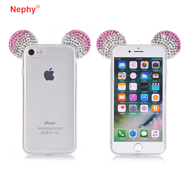 Nephy 3D Mickey Ears Rhinestone Transparent Soft TPU Case Cover For Samsung Galaxy A5 A500 2015 A500F A5000 SM-A500 Coque Fundas