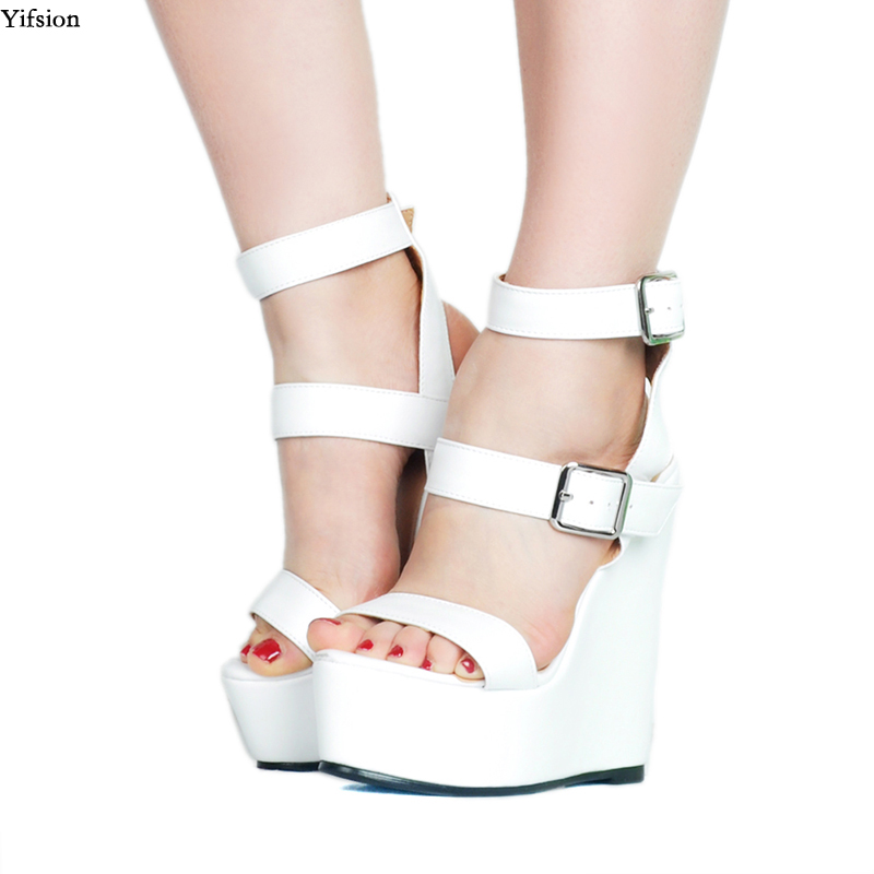 Yifsion New Arrival Women Platform Sandals Sexy Wedges High Heel Sandals Open Toe Nice White Party Shoes Women US Plus Size 4 15