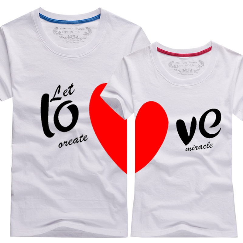 0b04913f5f 2016 New Upgrade Couples Men & Women Heart LOVE t shirts Printing100% Cotton  Couple Lovers tshirts couple lovers couple t shirt-in T-Shirts from Men's  ...