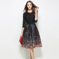 Newest Spring Summer Women High Quality Dress Fashion Round Collar Vintage Printed Lace Dress Elegant Bodycon