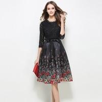 Newest Spring Summer Women High Quality Dress Fashion Round Collar Vintage Printed Lace Dress Elegant Bodycon