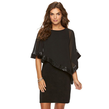 Mesh Sequins Robe Sexy Club Batwing Sleeve O Neck Pencil summer  Dress brilliant silk See Through Wrap Women office Dresses