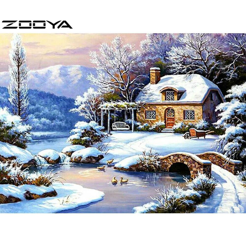 ZOOYA DIY Diamond Painting Scenic Diamond Embroidery Cross Stitch Pattern Rhinestones Round Diamond Mosaic Kits Snow House R153