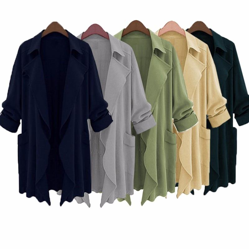 ZANZEA Women Long Jacket Cardigan Casual Coat 2018 Spring Autumn Lapel Loose Solid Ladies Chiffon Outwear Plus Size S-5XL
