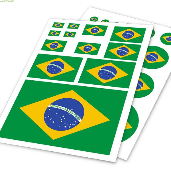 Brazil flag design vinyl sticker on carpersonality doodle car body decor stickers and decals