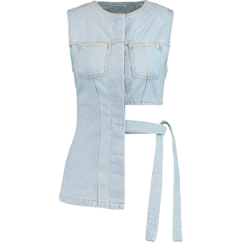 Tops Rosée Bow Sans Gilet 2018 Mode Sexy Twotwinstyle Blue Denim Taille Femelle Lace Asymétrique Manches Pour D'été Up Femmes xTgH0q8Bw