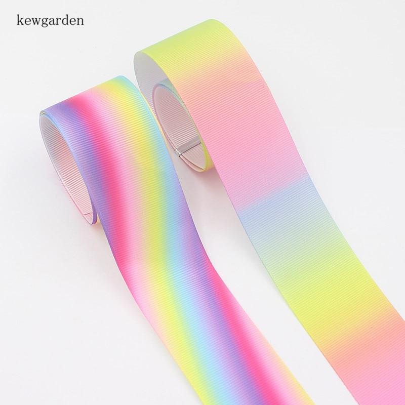 Kewgarden 38 / 25 mm 3.8 / 2.5 cm Colours Rainbow Grosgrain Ribbons Handmade Tape DIY Bowknot Accessories Satin Riband 8m/lot