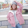 Harajuku vento do inverno das senhoras moda Casual turn-down collar pockets lã de cordeiro mais quente de veludo de algodão grosso casaco solto