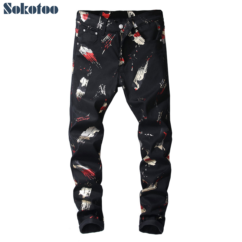 Sokotoo Men's Fashion Colored Pattern Printed Jeans Black Painted Slim Pants