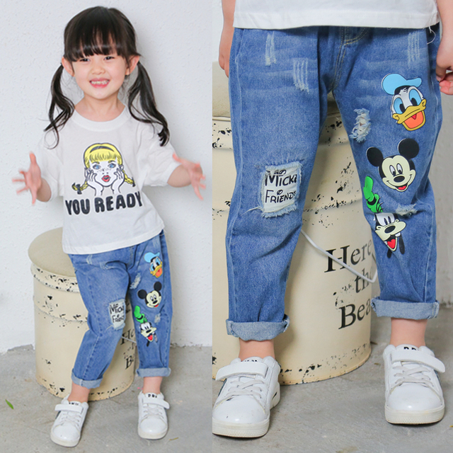 Free shipping 2017 Kids new spring boys and girls sofe jeans hole cartoon baby denim pants