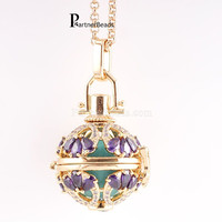 Partnerbeads Water Drop CZ Stone Stainless Steel Chain Maternity Necklace 3 Colors Plating Angel Lockets Jewelry AC5034