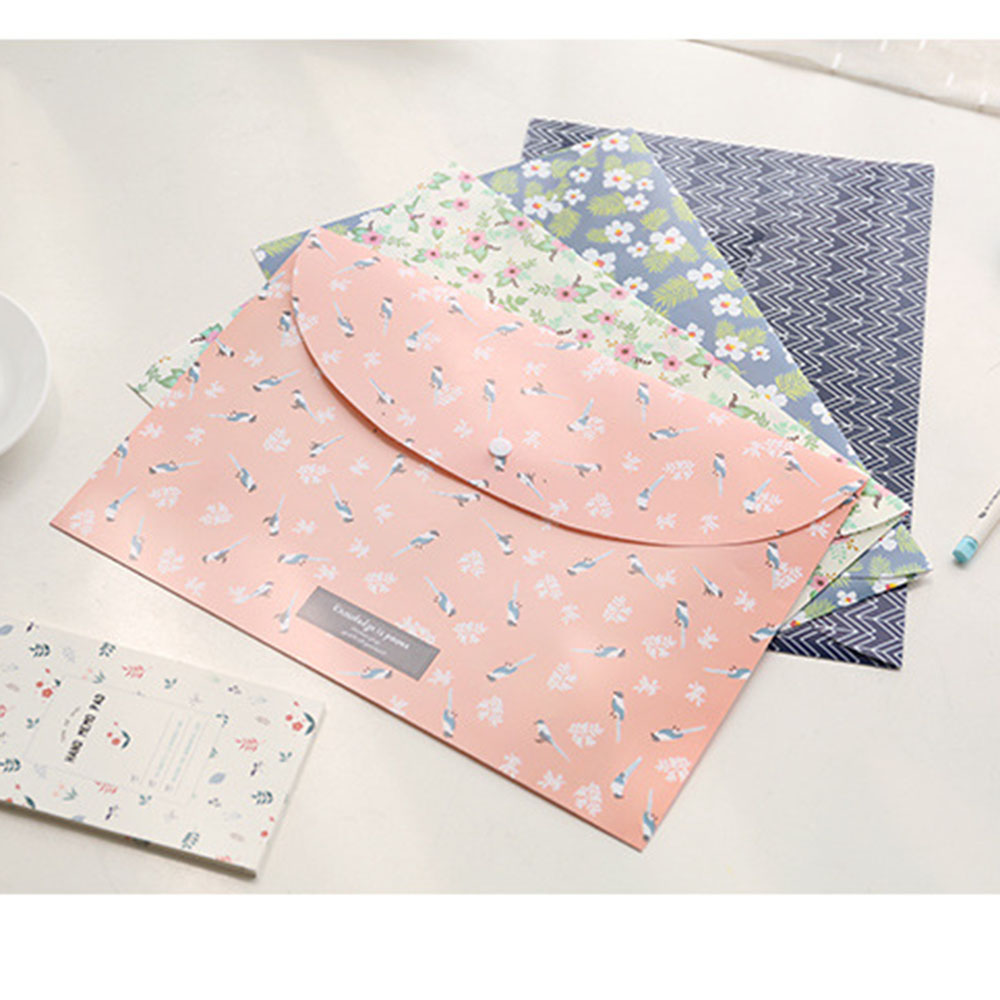Rural Style Small Broken Flowers Durable Folder Floral File Bag Paper A4 Student Stationery School Office Supplies