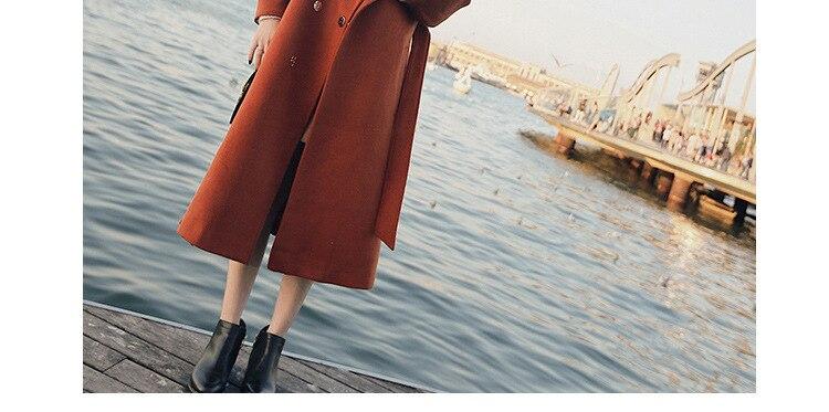 Plus Size Loose Warm Wool Blends Long Winter Coat Turn-down Collar Adjustable Belt Wool Coats Women Office Work Wear Elegant 10