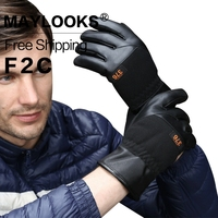 Maylooks Solid Wrist Leather Glove 2017 Men S Fashion Warm Cool Accessories Adult Firm Six Colors