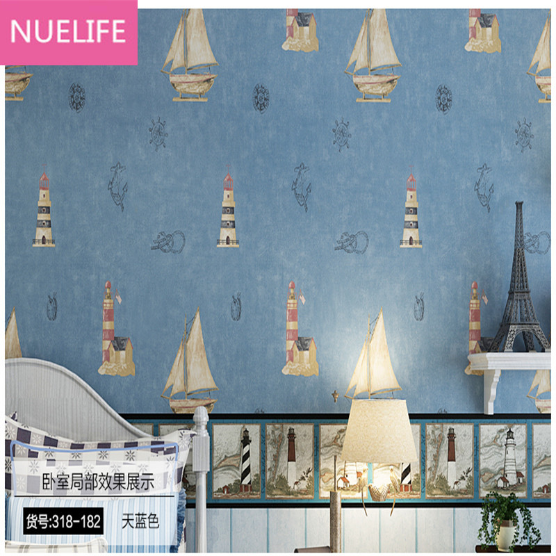 0.53x10Meter Mediterranean style sailing pattern non-woven childrens room bedroom boy room living room kindergarten  wallpaper0.53x10Meter Mediterranean style sailing pattern non-woven childrens room bedroom boy room living room kindergarten  wallpaper