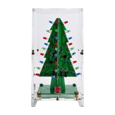 Árvore de natal Flash LED Kit 3D DIY Kit de Aprendizagem Eletrônica Luzes Coloridas 3 Cores Presente