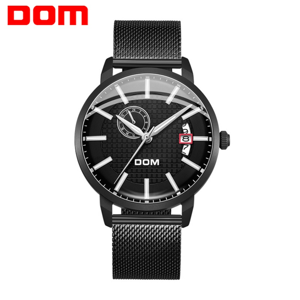 Watch Men DOM brand Mechanical Fashion Design Skeleton Sport Luminous Hands Transparent Mesh Bracelet For Clock M-8111