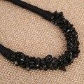 Черный натуральный камень ожерелье Веревку Цепи DIY Заявление Choker ожерелье Ворота для женщин Летнего ювелирных изделий партии