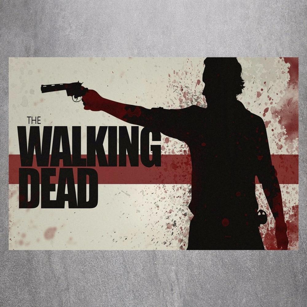 5 78 20 De Réduction The Walking Dead Tueur Toile Art Imprimer Citation Affiche Mur Photos Pour La Décoration Décoration Murale Tissu De Soie Aucun