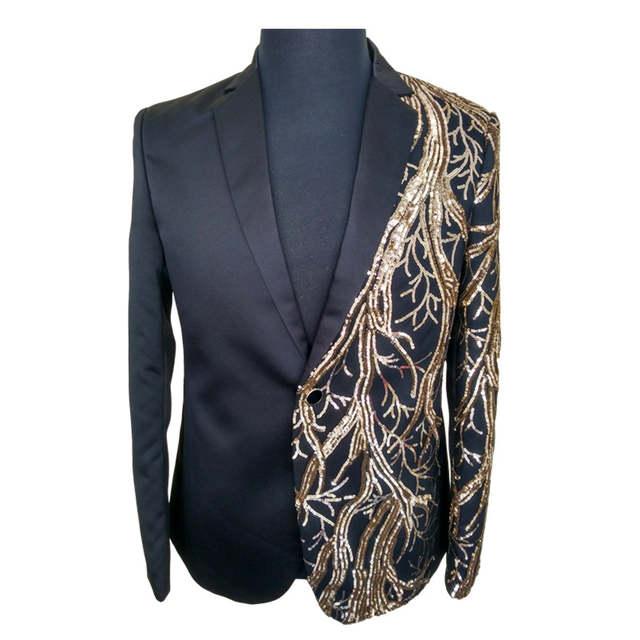 adc6372f89 placeholder Homens casaco preto e dourado de paetês blazer masculino terno  masculino blazers casuais homens blazer hombre