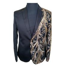 Мужчины черный и золотой куртка блесток блейзер terno masculino случайные блейзеры мужчины blazer masculino hombre мужские блесток куртки(China (Mainland))