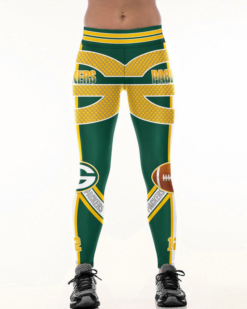 Green Bay P-Team Fitness   Leggings   Fiber Elastic Hiphop Party Cheerleader Rooter Workout Pants Logo Trousers Dropshipping