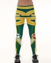Green bay p equipe leggings de fitness fibra elástica hiphop festa cheerleader rooter treino calças logotipo dropshipping