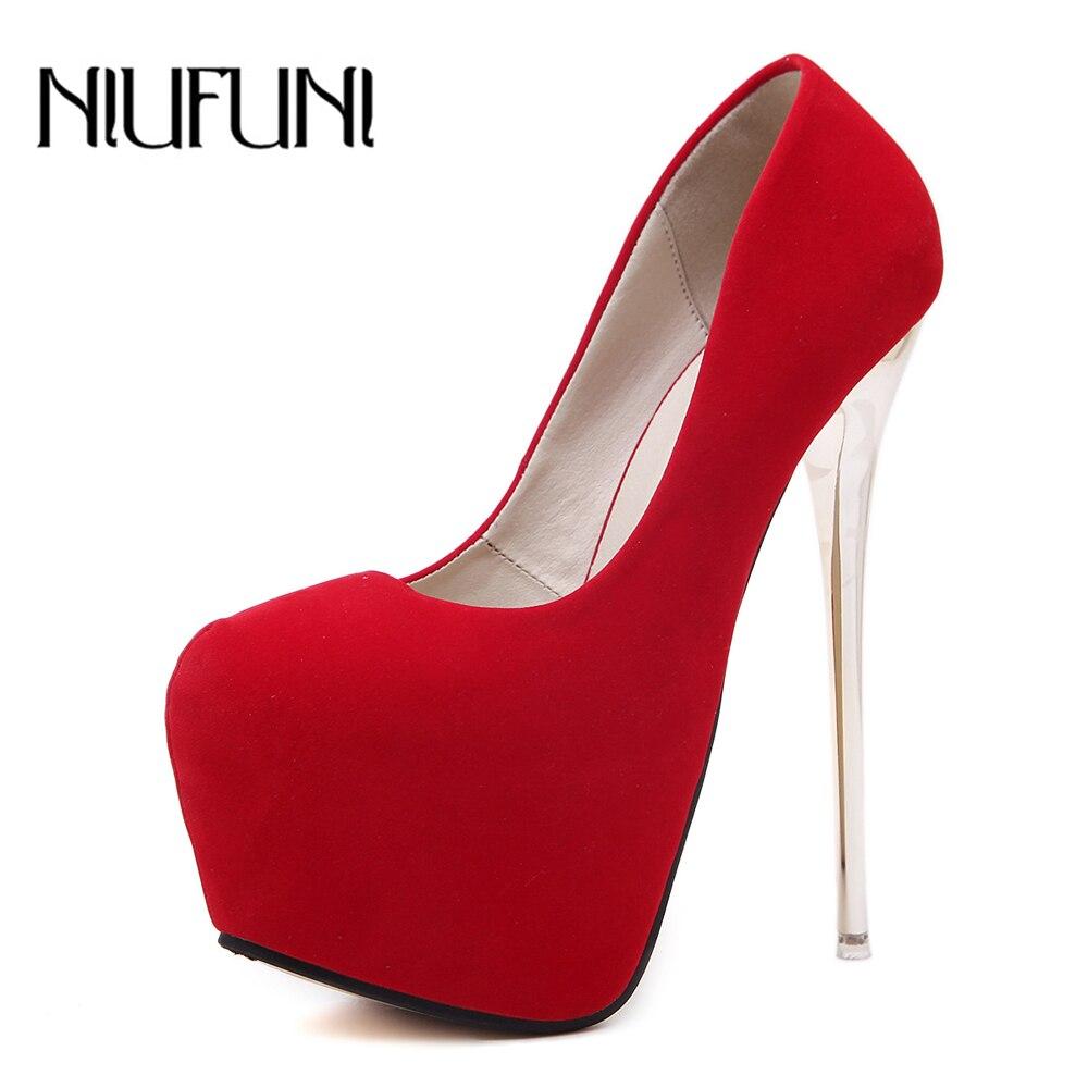 NIUFUNI Women's Classic Stiletto Heel Slip On Platform Pumps High Heel Dress Party Wedding Shoes Red Black Shoes Women