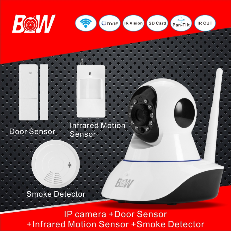 Wifi Camera P2P 720P HD Camera IP + Door Sensor + Infrared Motion Sensor + Smoke Detector Home Monitoring Equipment Set BW02S