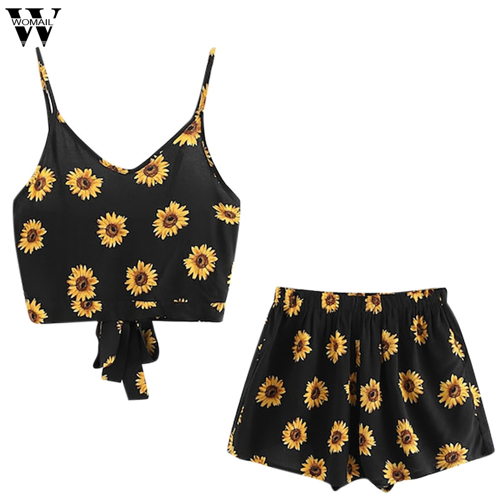 Womail Women tracksuit summer Fashion cute Casual Two-piece set Sleeveless Print Cami Tops + short Suits beach Outfit 2019 J63