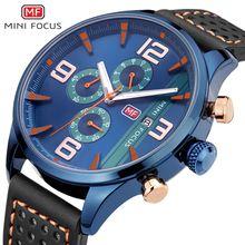 MINIFOCUS Fashion Sport Man Watch Genuine Leatehr Waterproof Casual Quartz Black Wrist Watches For Male Relogio Masculino