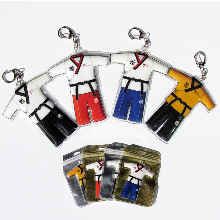 12pcs/lot) New Poomsae Dobok Keychains Taekwondo V Neck 4 Colors Doboks Key Chains Gifts For Childrens Students Wholesale