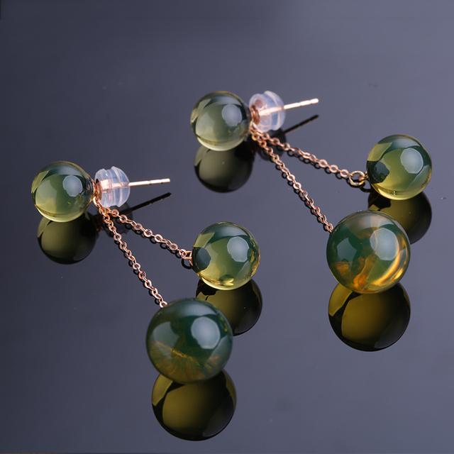 Robira Fashion Cute Ear Wire Earrings Female Models Long Drop 18K Gold Removable Natural Blue Amber Jewelry Dangle Earrings