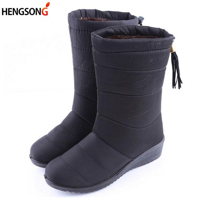 جديد الشتاء النساء الأحذية منتصف العجل أسفل الأحذية الإناث للماء السيدات الثلوج الأحذية الفتيات الشتاء أحذية امرأة أفخم نعل بوتاس موهير