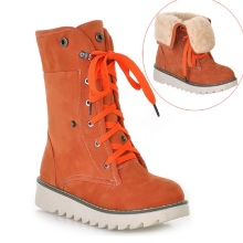 Women Shoes Winter Cow Muscle Sole Boots Front Lace-up Wedges Snow Martin Boots  XW-18