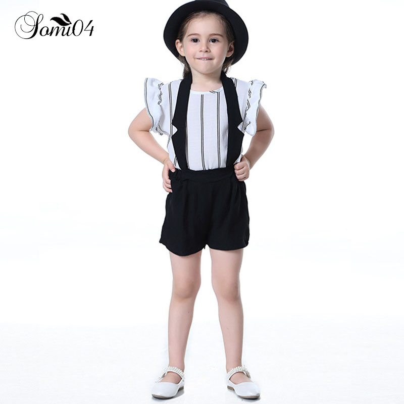 Kids Girl Shirts + Halter Shorts Simple Style Suits 2018 Summer Children Girls Costume Formal Striped Shirt Pants Outfit Clothes 2pcs children outfit clothes kids baby girl off shoulder cotton ruffled sleeve tops striped t shirt blue denim jeans sunsuit set