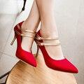 Сладкий стиль сексуальная острым носом туфли на высоком каблуке мода подбора цвета пряжки ремня черный красный синий высокие каблуки женская обувь больших размеров 21.5 ~ 28.5 см