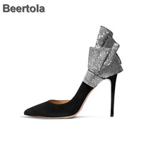 Rhinestone Bow Women Shoes For Wedding Thin High Heel Woman Elegant Shoes Black Shallow Pumps New Spring Autumn Sexy Italy Shoes