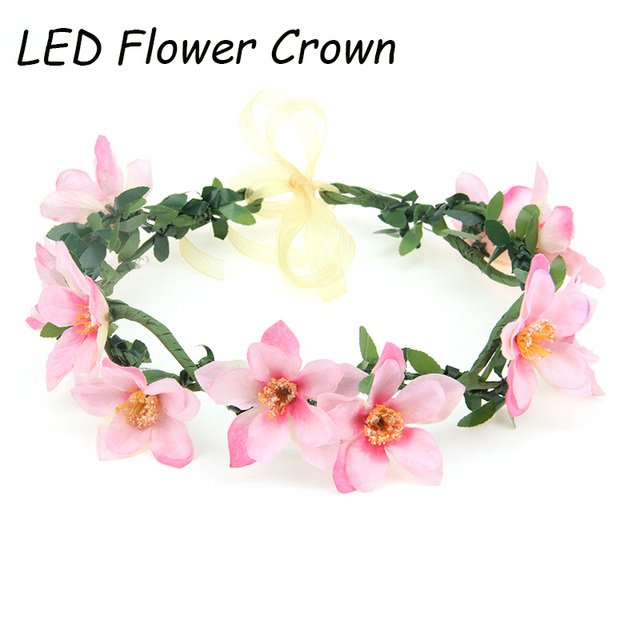 Fashion pink flower crown led flower garland hawaiian party fashion pink flower crown led flower garland hawaiian party decorations hair fascinators headwear coroa de flores mightylinksfo