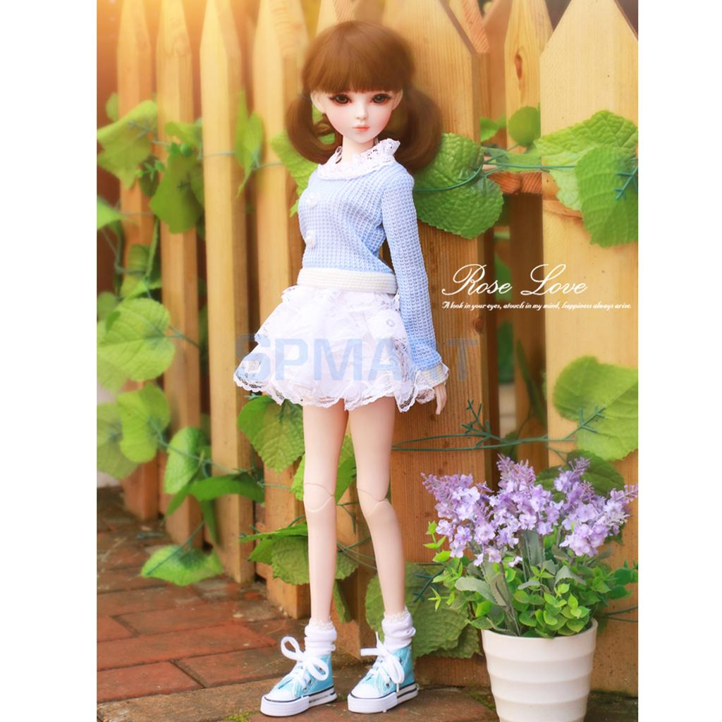 Fashion Doll Sweater Lace Mini Skirt & Stockings Socks Clothing Set for 1/3 BJD SD AS DZ YOSD LUTS Dollfie free match stockings for bjd 1 6 1 4 1 3 sd16 dd sd luts dz as dod doll clothes accessories sk1