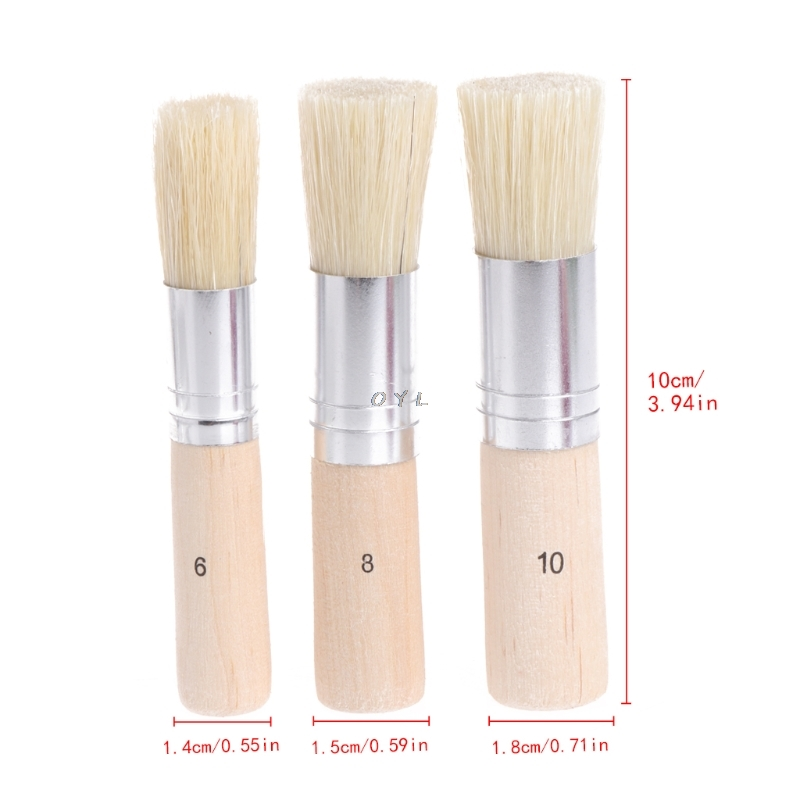 3Pcs Wooden Stencil Brush Hog Bristle Brushes Acrylic Watercolor Oil Painting For Child Painter