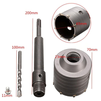 65mm Metal Concrete Drill Bit Wall Hole Saw Cutter Set 200mm Rod For Brick Cement Stone
