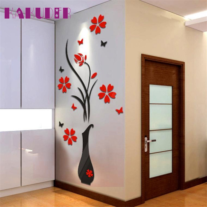 Kakuder  DIY Vase Flower Tree Crystal Arcylic 3D Wall Stickers Decal Home Decor 80*40cm #10 2016 Gift Drop shipping(China)