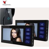 Yobang безопасности видеодомофон Дверные звонки Системы телефон Дверные звонки с сенсорной кнопки 1 камера 2 монитор Ночное видение домофон