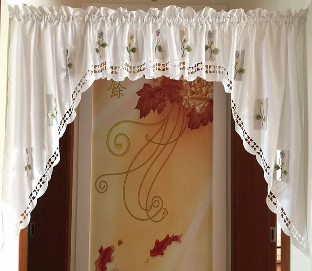 Pure White Flower Embroidered Kitchen Curtain Decorative Swag