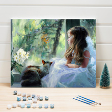 Paint Coloring By Numbers On Canvas Figure Painting Kits Acrylic Wall Pictures For Living Room Decor Home Arts Crafts Woman Draw